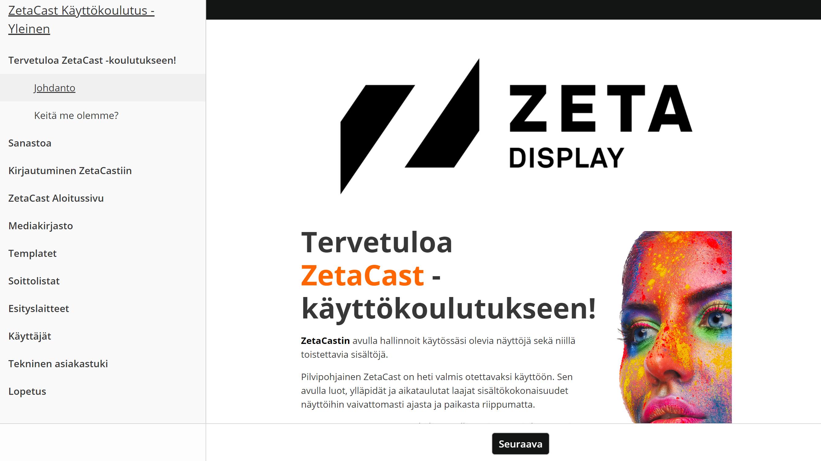 ZetaCast verkkokoulutus ZetaDisplayn verkkosivuilla